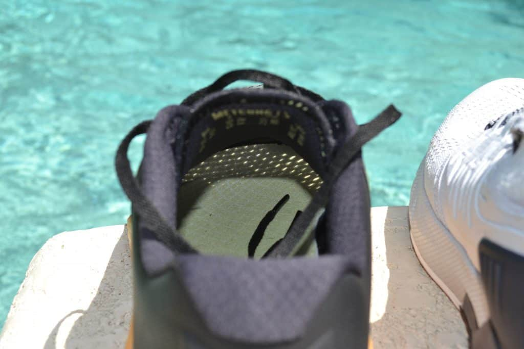 Project Rock 3 Versus Nike Metcon 6 - Sunshine through upper