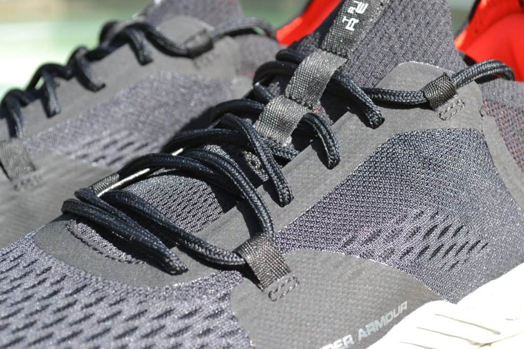 Laces closeup of the Under Armour TriBase Reign 2 - new cross trainer from UA for 2020 - great for CrossFit!