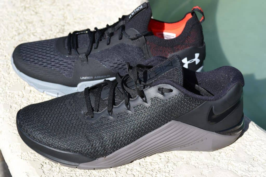 side comparison - Nike Metcon 5 vs Under Armour TriBase Reign 2 - new cross trainer from UA for 2020 - great for CrossFit!