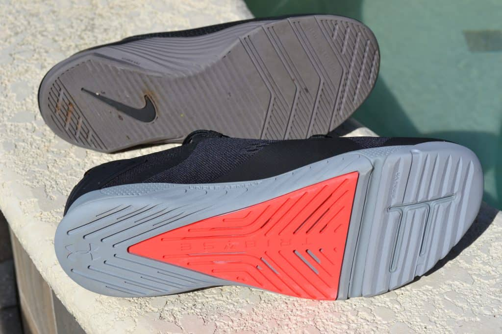 Soles of the Nike Metcon 5 versus the Under Armour TriBase Reign 2 - new cross trainer from UA for 2020 - great for CrossFit!