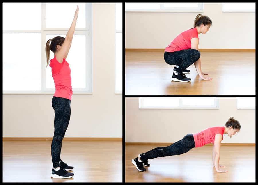 Young woman illustrating the positions of the burpee exercise - which is a great choice for Tabata
