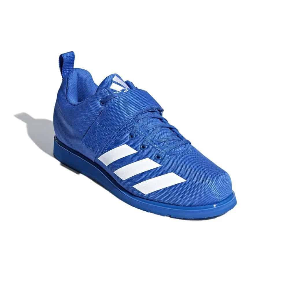 New for 2019, the Adidas Powerlift 4 features an updated, narrower fit with a die-cut midsole wedge, rubber outsole, and wide instep strap for maximum, lockdown stability. It's available here in blue with the Adidas stripes in white.