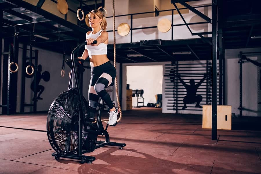 The assault bike (or air bike or fan bike) is a calorie-crushing, work capacity building machine.  It works great with interval style workouts.  Check out some of our workout ideas for the air bike here.