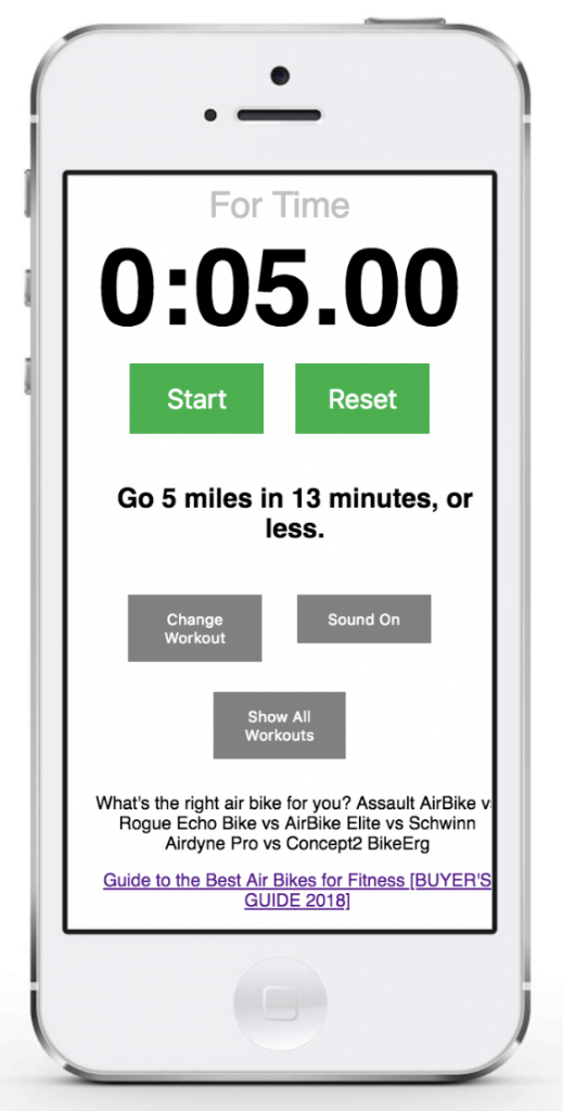 FitAtMidlife presents 28 awesome assault bike workouts - use it now on your iPhone, Android, or tablet - Free!
