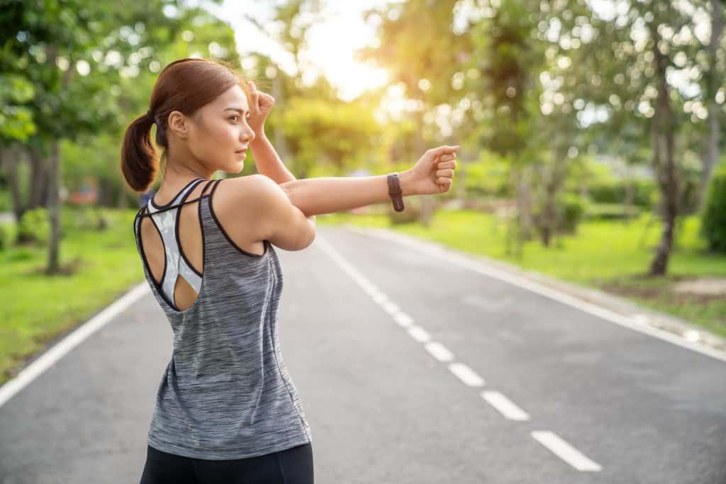 woman preparing to exercise