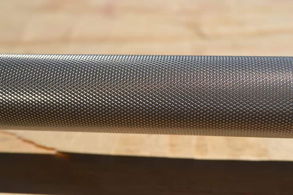 boneyard barbell from Rogue - knurl closeup