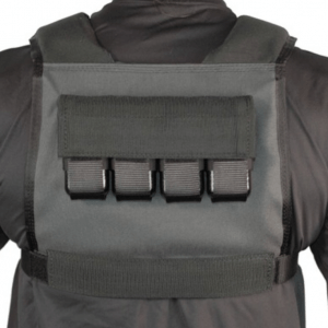 Box weighted vest has weight pockets high on the back - where they should be.