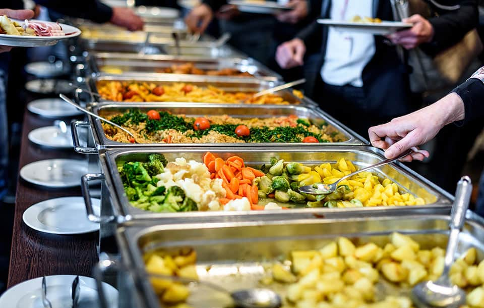 A business lunch buffet - the options can vary but make the right choices to keep your nutrition on track