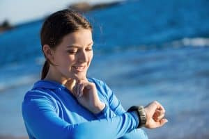 Checking heart rate by counting your pulse for 10 seconds, then multiplying by 6.