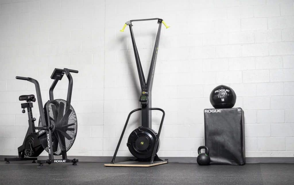 Concept2 SkiErg equipment in a gym setting. This piece of equipment is sometimes found in CrossFit boxes.