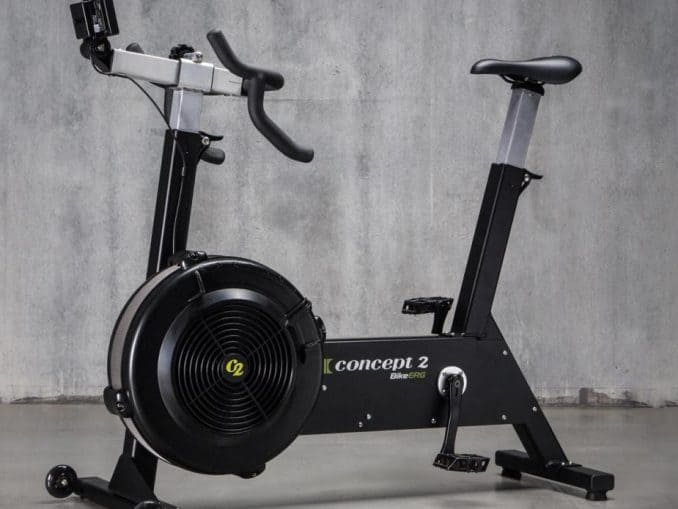 The Concept2 BikeErg is an interesting middle ground between a road bike and a fan bike. With a clutch for freewheeling, changeable seat and pedals, and a special damper to simulate gear changes, it's meant to be close to a road bike experience.