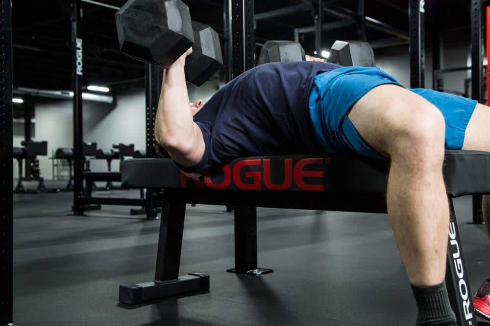 A flat bench works great with dumbbells.