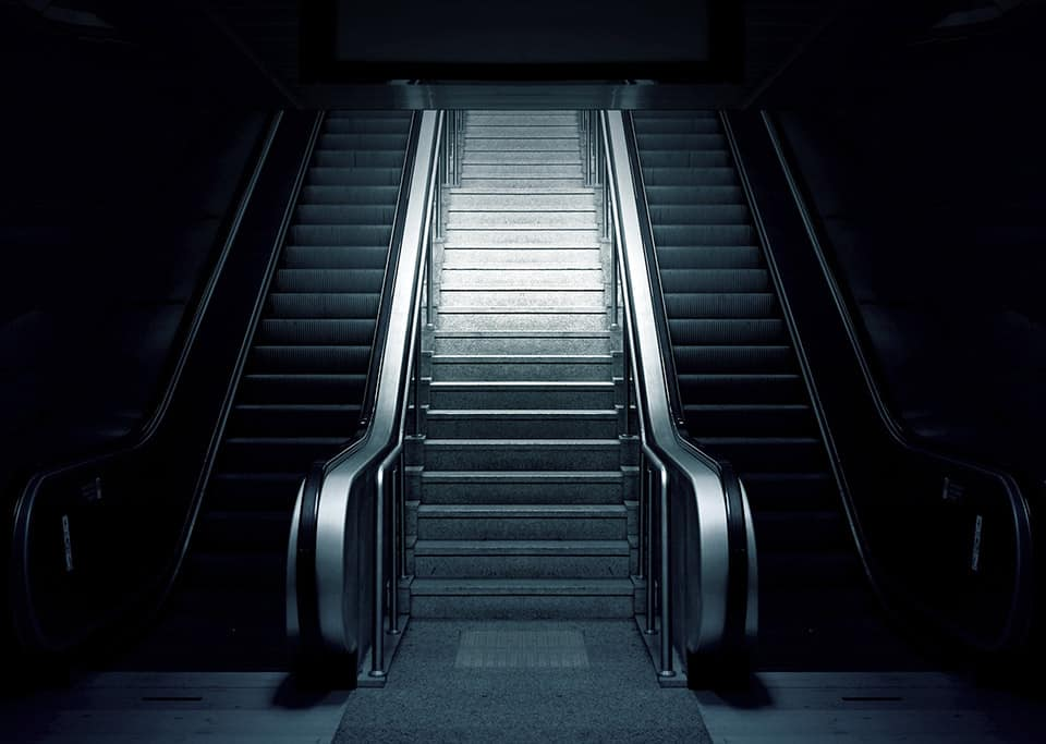 A familiar view to a business traveler - the escalator at the airport
