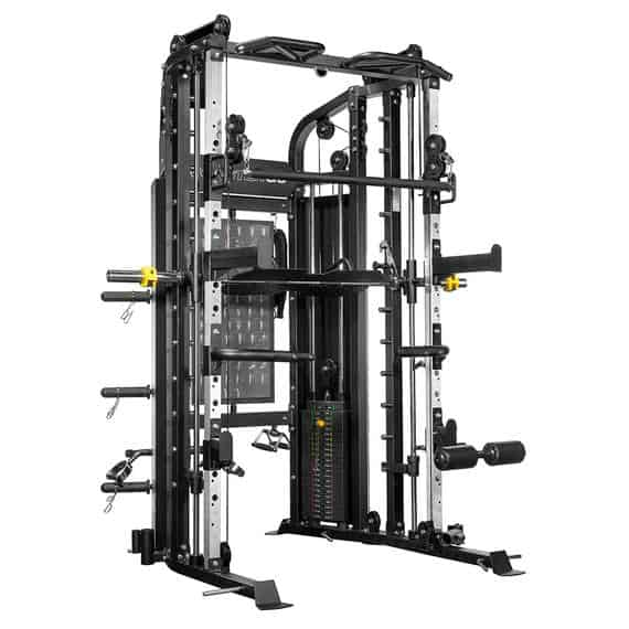 The ForceUSA G6 gives you all of the benefits of a Power Rack, Functional Trainer, Smith Machine, Leg Press, Chin Up Station, Dip Station, Core Trainer, and Suspension Trainer.