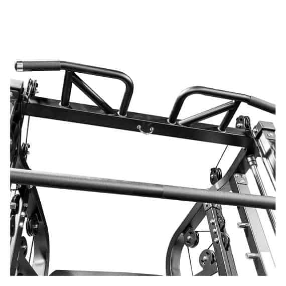 The ergonomic multi-grip pull-up bar of the Monster G6 Power Rack, Functional Trainer & Smith Machine Combo[