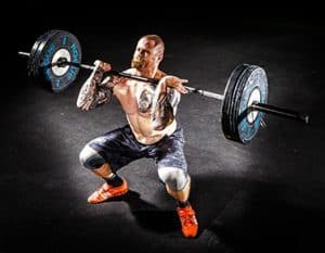 The Front Squat exercise, using a barbell.