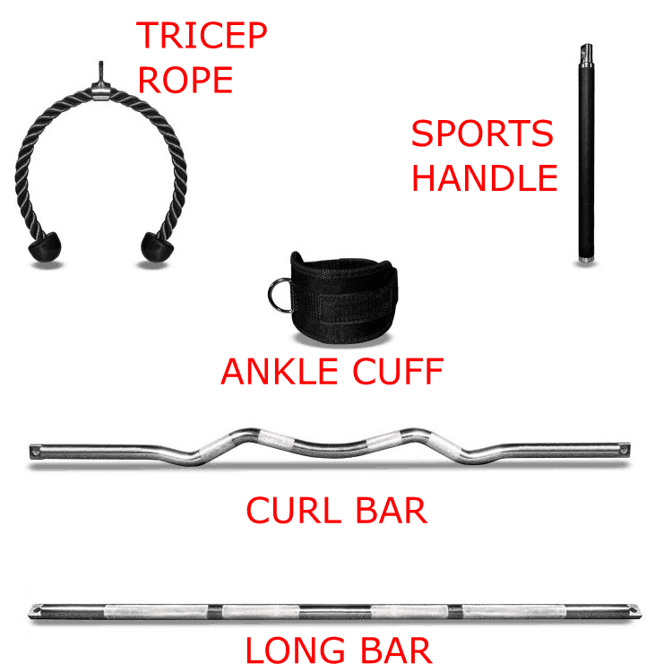 A complete set of handles or grips for use with a functional trainer cable machine includes a tricep rope, ankle cuff, curl bar, long bar, and ideally a sports handle which is great for simulating a bat or golf club, etc.