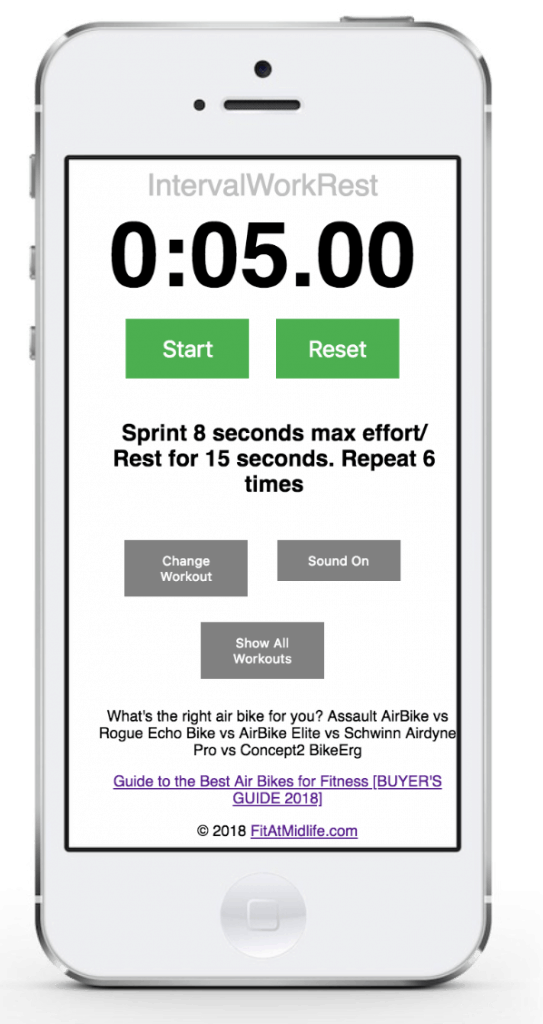 28 awesome assault bike workouts on your phone - check out our free workout app - it works on iPhone, Android, Tablet, or PC. 28 awesome air bike workouts hand picked from the experts. And this app even has a built in timer so you can perform wicked HIIT intervals and for time workouts.