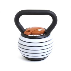 Kettlebell Kings Adjustable kettlebell - 10 to 40 lbs - If you are relatively new to kettlebells or weights this is the most perfect kettlebell for you. It answers all the questions you might have about which weight you need to start with or which weight to do different exercises with. You can easily perform high rep or low rep workouts of the same movement by simply adjusting the weighted plates with the slide of the lever!