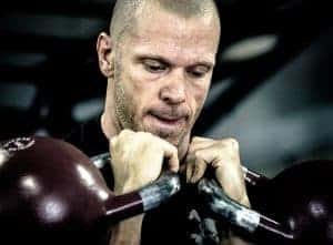 Kettlebells in the rack position.  You can use kettlebells singly, or in pairs.
