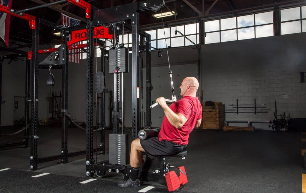 Make your rack a lat pulldown / low row machine with this Rogue Monster Lat Pulldown addon.