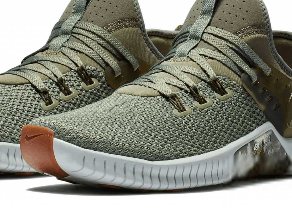 Best running shoe for CrossFit?  It is the Nike Free x Metcon, shown here in camo.  It is a great shoe for running, and other things like lifting weights as well.