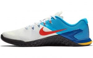 Nike Metcon 4 - Mens training shoe shown in WHITE / TEAM ORANGE-BLUE HERO-GYM BLUE