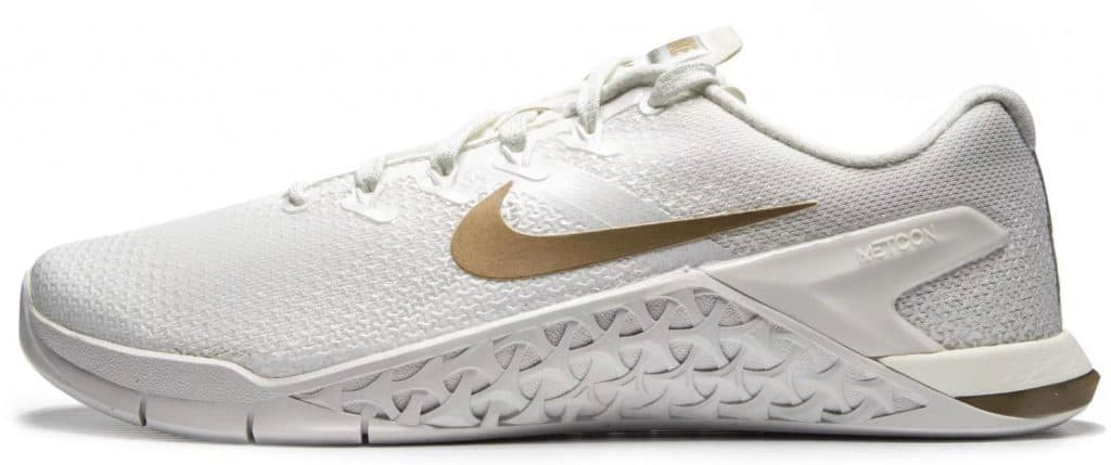 Nike Metcon 4 for Women - Nike's most durable cross-training shoe yet, the Metcon 4 is equally equipped for speed, grip, explosiveness, and stability. Not only that - but it is the best looking training shoe in 2018. Shown here in Champagne color.