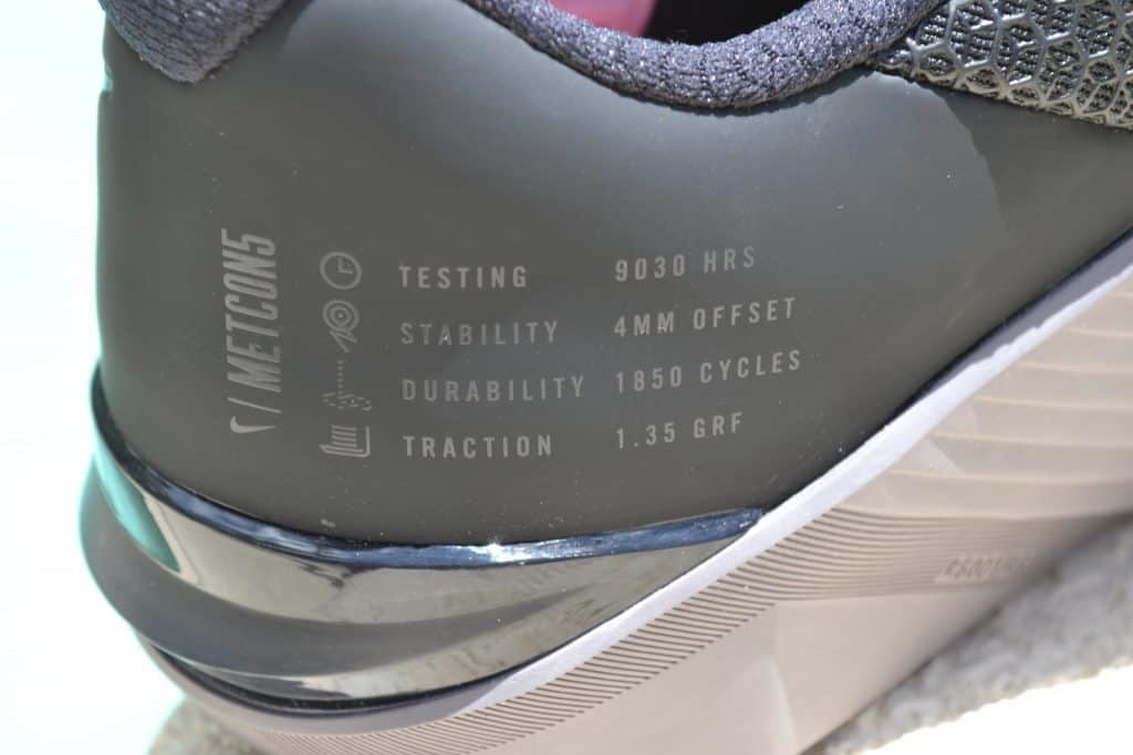 Nike Metcon 5 - Text on the heel confirms some   stats - such as a 4mm heel to toe drop.
