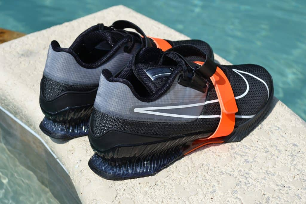 Nike Romaleos 4 - Black/Orange Heel View