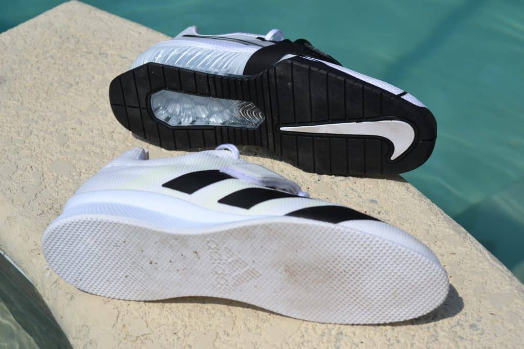 Adipower 2 vs Nike Romaleos 4 - Outsole view