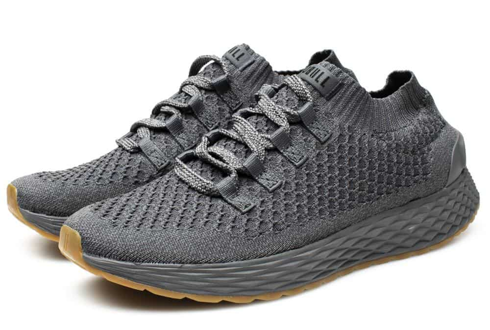 Designed with a breathable stretch knit upper and an outsole lug pattern equipped for multi-surface training, NOBULLs dark gray Knit Trainer is another high-performance, go-anywhere mens athletic shoe with no-nonsense style.