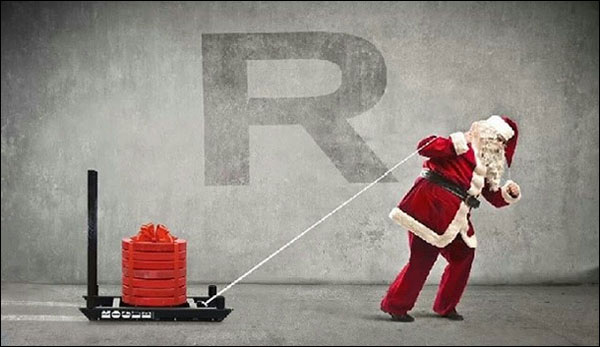 Old Saint Rogue drags his sled - brining cool gifts for all the Crossfit boys and girls
