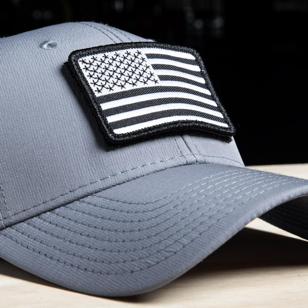 Operator hat with US flag velcro patch