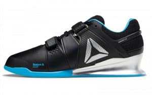 Reebok Legacy Lifter weightlifting shoe in black/bright cyan/matte silver.