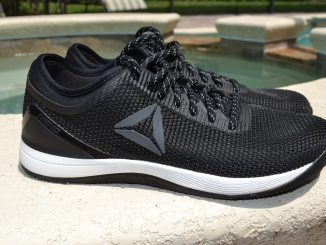 "A side view of the Reebok Nano 8 CrossFit shoe. This is the special edition ""No Excuses"" model that is available now in 2019."