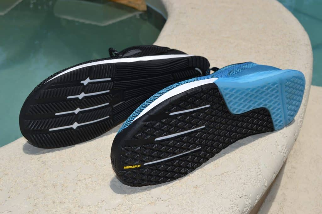 You can see the forefoot flex grooves feature prominently in both shoes.
