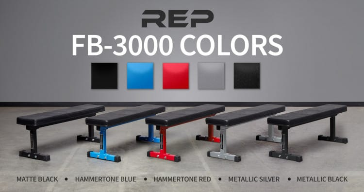 FB-3000 Flat Bench from Rep comes in a variety of colors.