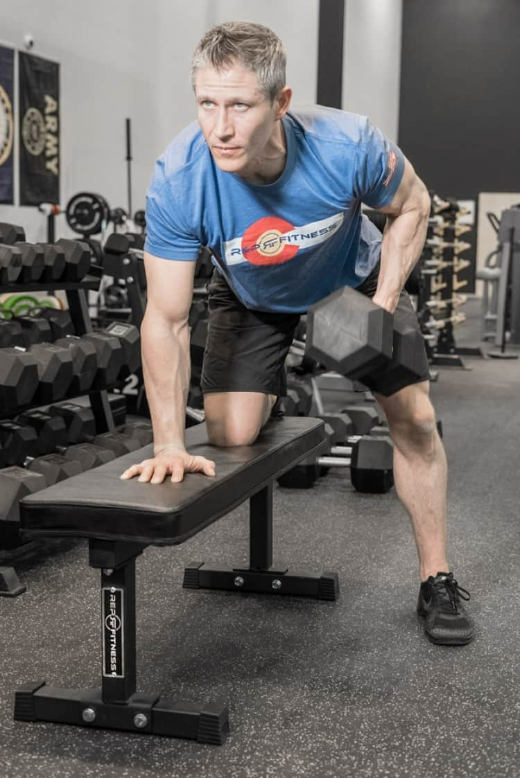 Dumbbell Rows on an FB-3000 Flat Bench from Rep Fitness
