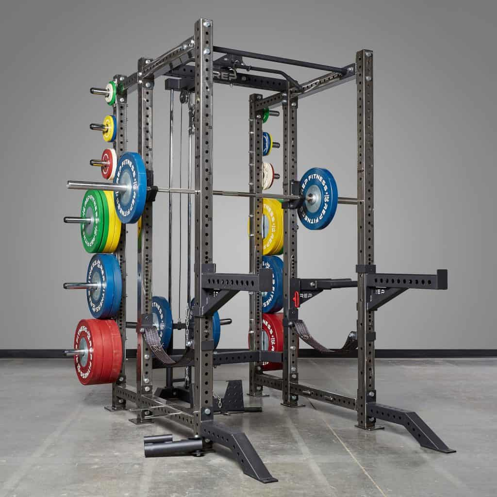 The PR-4000 power rack supports many, many optional attachments.