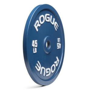 A Rogue Fitness calibrated steel plate.  The blue color denotes that this is a 45 pound (45 lbs) plate - which is also labeled as such