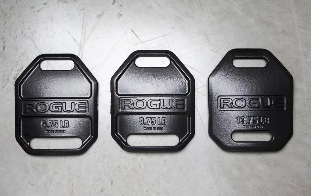 "USA Cast Weight Vest Plates are sold in pairs and available here in three sizes (5.75LB, 8.75LB, and 13.75LB), each measuring 11.25"" in length and 9.25"" in width."