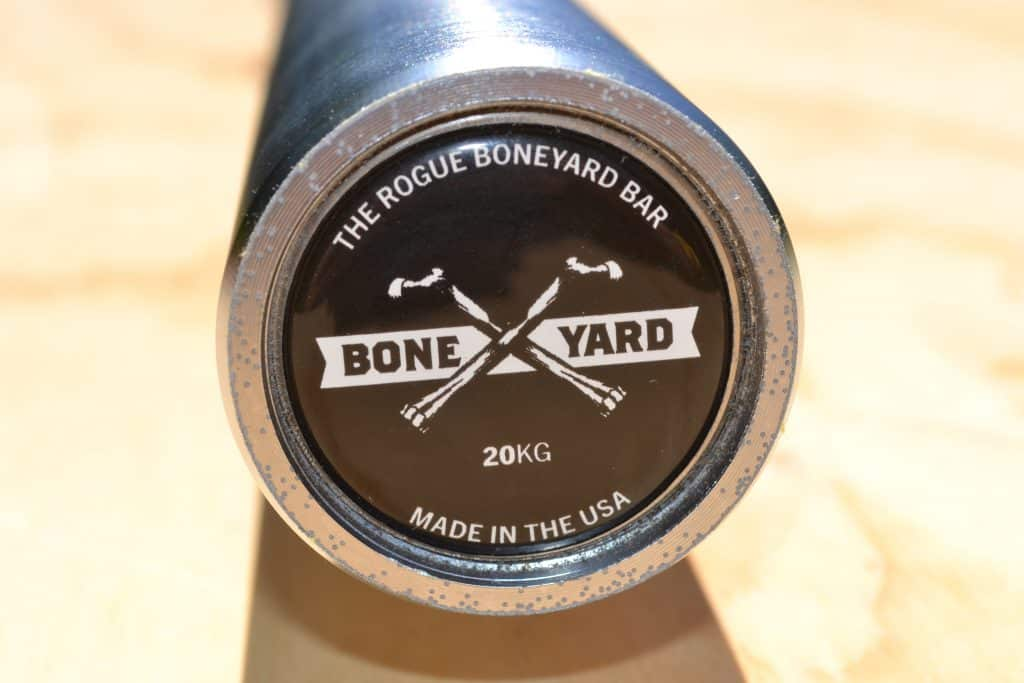 Another view of the end cap on a rogue boneyard bar - a 2nds quality new bar made in the usa