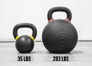 Rogue Fitness Monster Kettlebell - truly a monster kettlebell the 203lb kb dwarfs the average 35lb kb