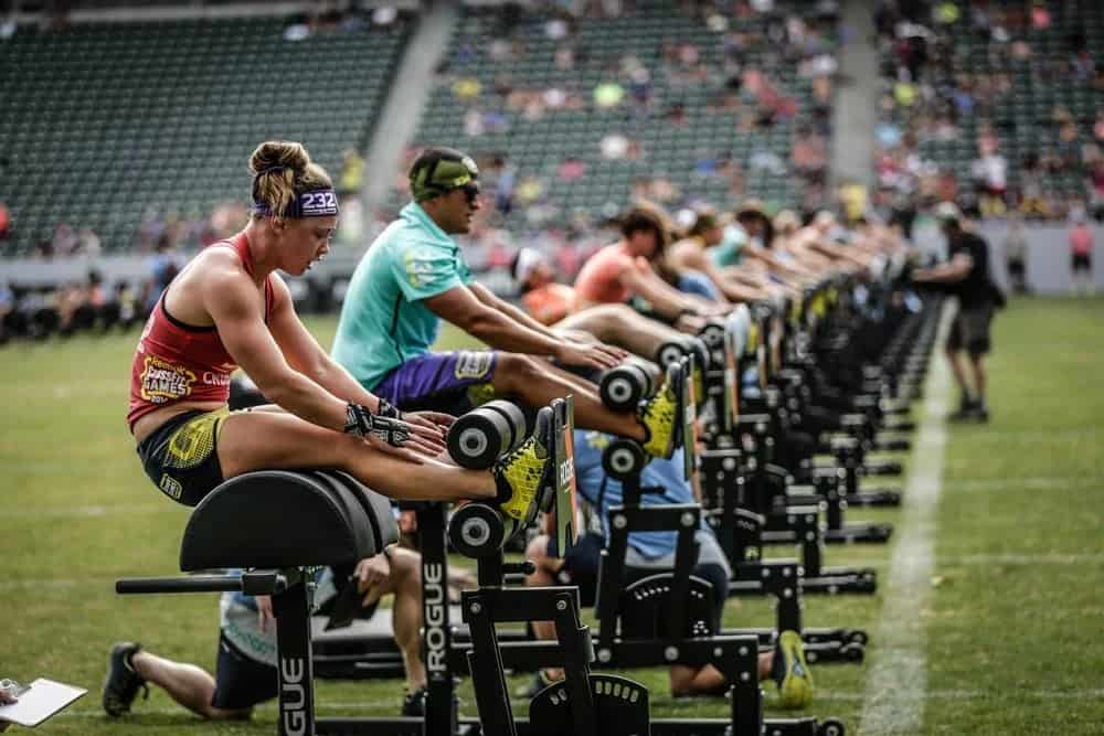 Rogue Fitness is the official equipment supplier for the annual CrossFit Games. Here's GHD (Glute Ham Developers) that were used for an event.