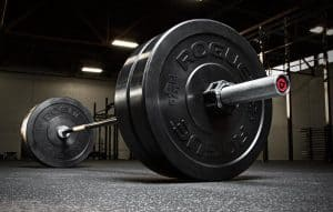 Rogue Fitness - Bar with bumper plates - excellent for CrossFit and Olympic weightlifting