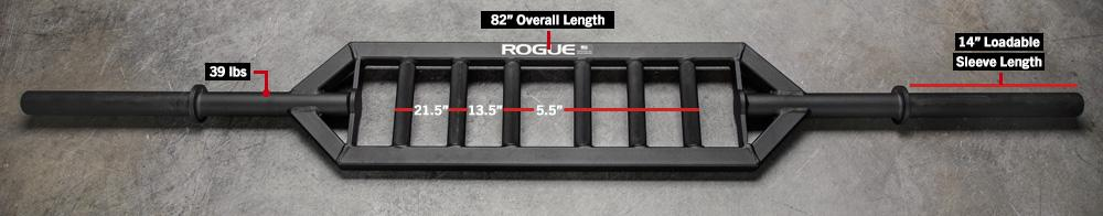 ROGUE MG-1 MULTI GRIP BAR - 3 different neutral grip positions, with knurled handles