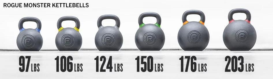 Rogue Monster Kettlebells - from 97 lbs to 203 lbs - these are really big.