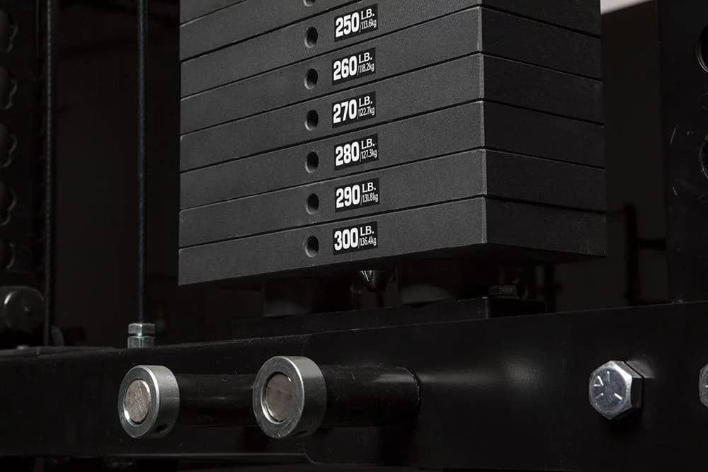 The selectorized weight stack of Rogue's Monster Lat Pulldown/Low Row machine.