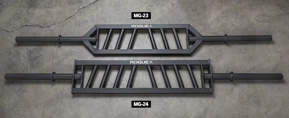 The Rogue MG-2 line of multi-grip (or swiss) bars have angled grips. You can reverse the bar to reverse the angle.